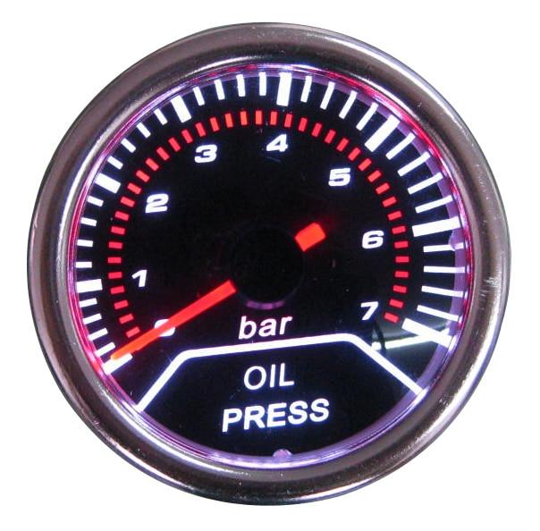 2 52MM Universal Oil Pressure Car Gauge 0 7 BAR Meter Auto White LED