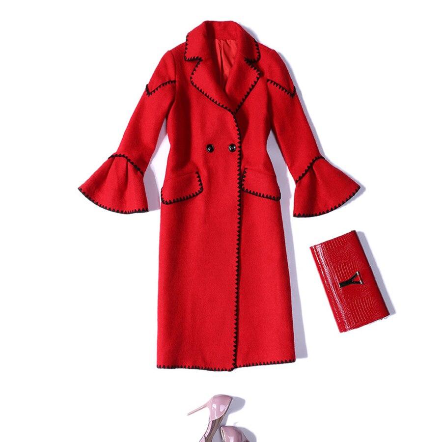 Mujeres Rojo Llamarada Encaje A Abrigo Reino Unido Otoño Principios Invierno Negro Patchwork Calle De Manga 2019 Rojo Cintura Moda Abrigos Las Fqwa1a