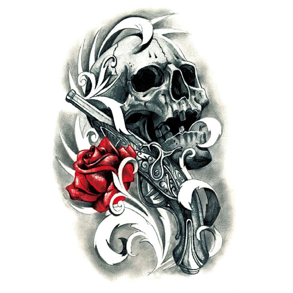 Yeeech Temporary Tattoos Sticker for Women Men Sexy Fake Large Skull Gun Rose Black Red Designs Arm Leg Waterproof Body Art Mark