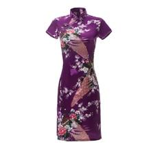 Сексуальное Тонкое летнее женское Короткое платье Cheongsam большого размера в китайском стиле, платье из вискозы с цветочным принтом для шоу на сцене, Qipao 3XL 4XL 5XL 6XL