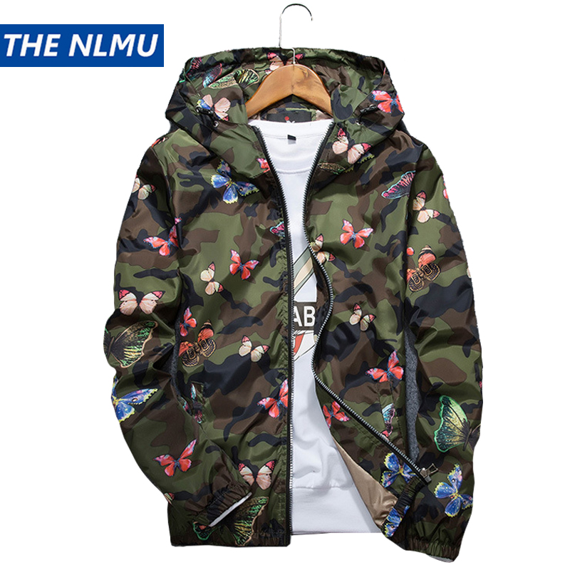 Mens Casual Camouflage Hoodie Jacket 2018 New Autumn Butterfly Print Clothes Men's Hooded Windbreaker Coat Male Outwear WS505(China)