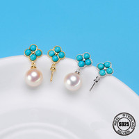 Fashion new simple temperament bow long earrings women's personality Natural fresh water pearl earrings 925 silver ear ornament