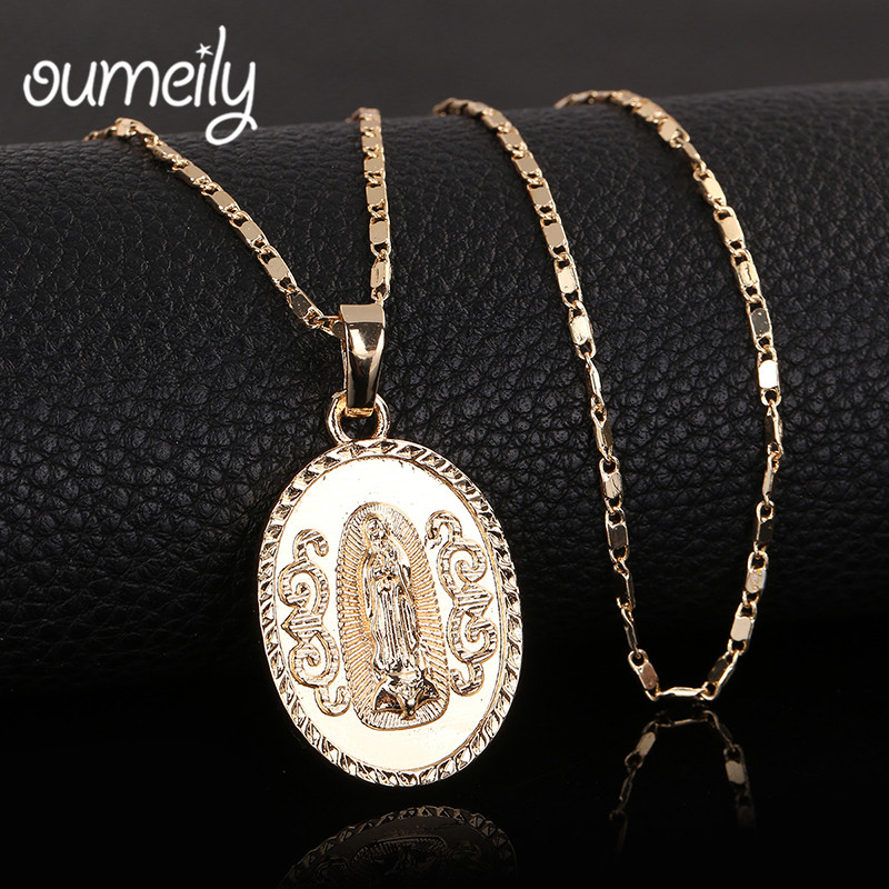 Oumeily Oval Angle Virgin Mary Maria Statement Necklace