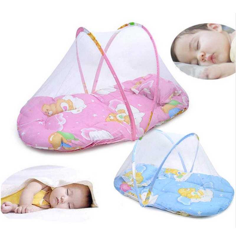 2017 Baby Bed With Mattress And Pillow Super Soft Crib Mosquito Netting Infant Folding Babies
