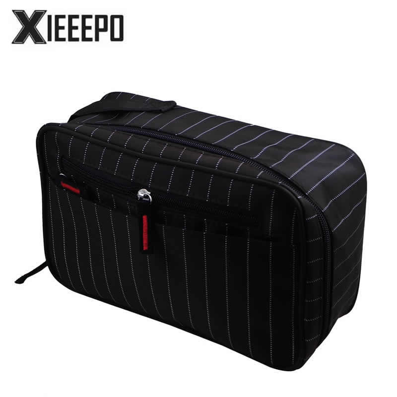 Men Travel Cosmetic Bag Trunk Makeup Case Zipper Striped Make Up Bag Necessaries Organizer Storage Pouch Toiletry Wash Kit Bag elegant business men toiletry bag travel organizer cosmetic bag necessaries