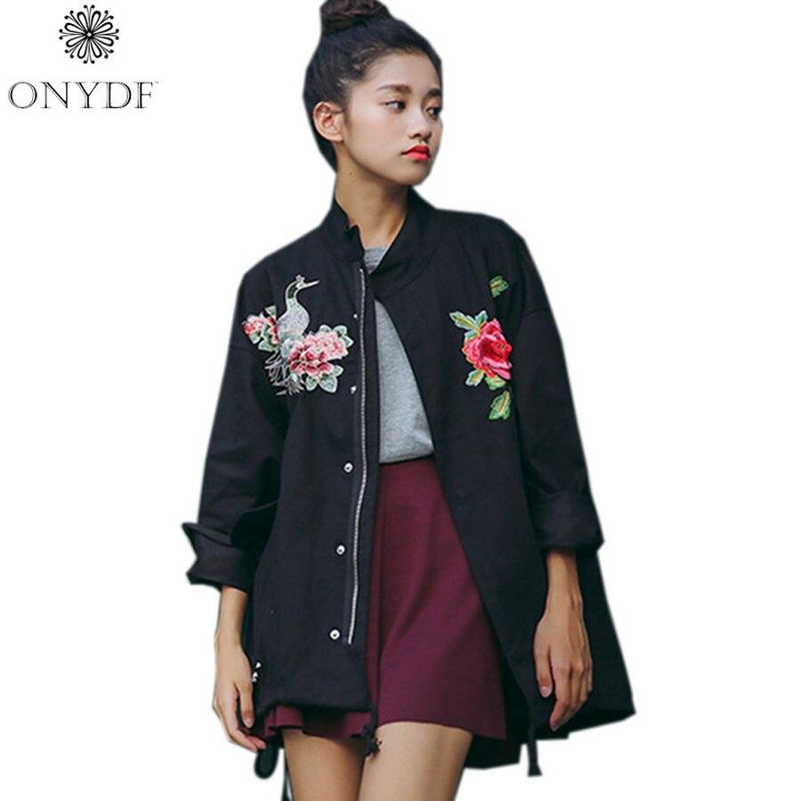 2017 Spring Black Oversized Coat Ethnic Vintage Embroidery Jacket Women Basic Coats Outwear Jaqueta Feminina Chaquetas Mujer