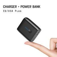 Cep telefonları ve Telekomünikasyon Ürünleri'ten Cep Telefonu Şarj Cihazları'de Ab/abd katlanabilir fiş 2 in 1 USB şarj aleti güç bankası 5000mah otomatik güç kapalı hızlı şarj Powerbank çift USB harici pil