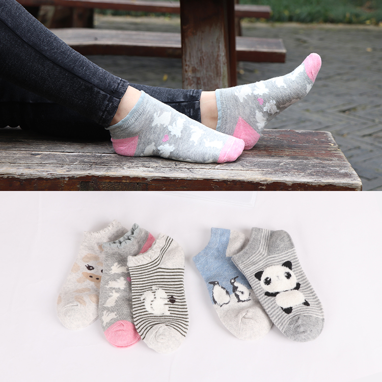 UG Cartoon Women Socks Cotton Invisible Socks Cute Animal Stereo Ear Girl Ankle Socks Harajuku Breathable Socks
