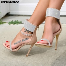 TINGHON Summer Luxury Rhinestone Pumps Women Sandals sexy High Heels fashion zipper peep toe Fine with party Woman Shoes