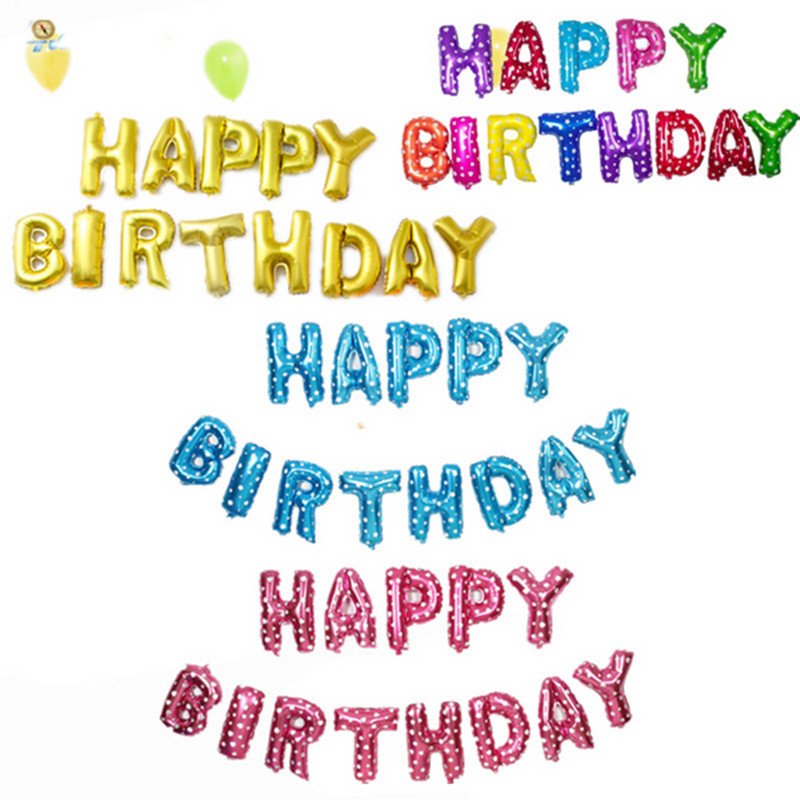 XXPWJ Free shipping new Golden Silver gray red Pink letters Happy Birthday Ballo