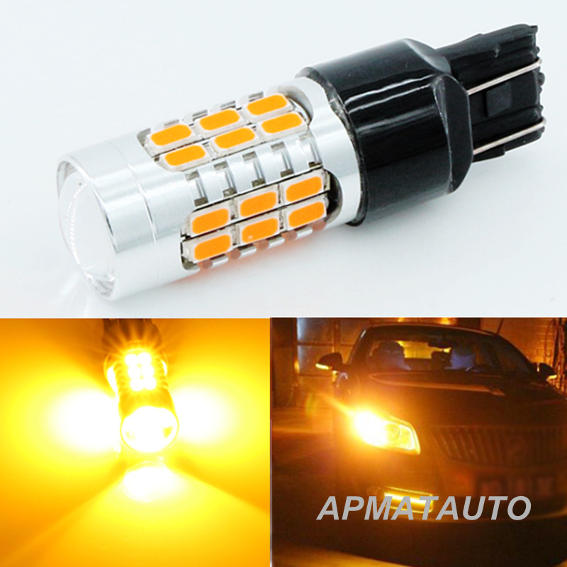 2x Canbus No Hyper Flash  T20 7440 WY21W Turn Signal Light Yellow/Amber  with Lens Front or Backup Reverse Lights  No Error 2 error free amber yellow 7440 t20 21w led bulbs for car front or rear turn signal lights no hyper flash and no modification