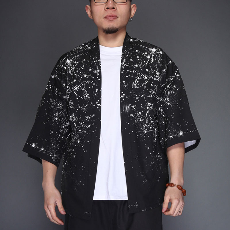 Men Fashion Casual Robe Shirt Jacket Summer Male Short Sleeves Shirt Thin Cardigan Kimono Coat ...