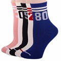 RioRiva 5pairs/Pack US5-9/EU35.5-40 Women Solid Color Short Mid Calf Crew Socks Numberr Stripes Multi Colored Ankle Women's Sox