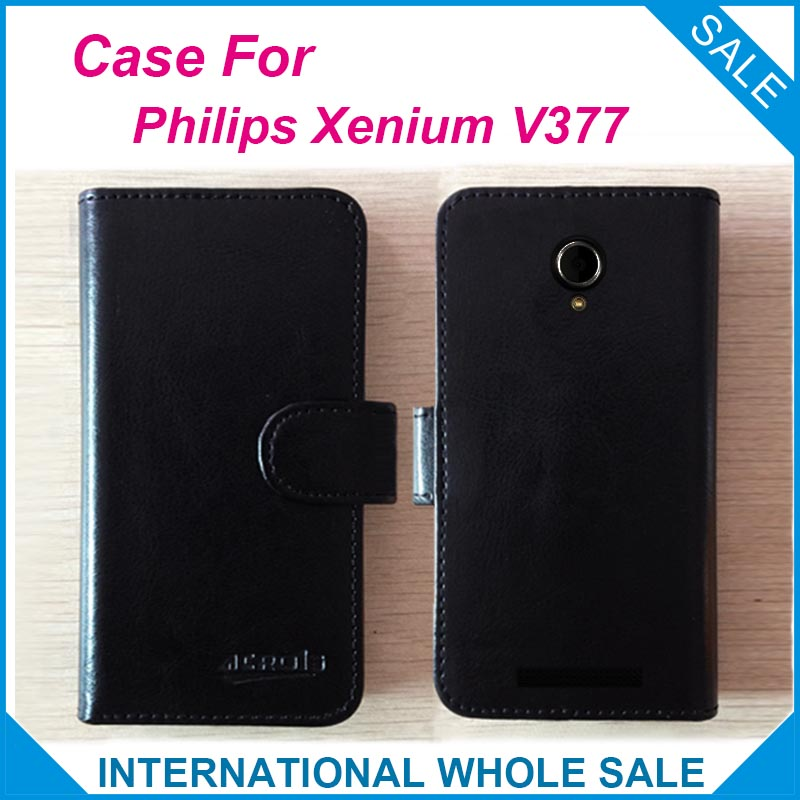 Hot! 2016 For Philips V377 Case, 6 colors High Quality Leather Exclusive Case For Philips Xenium V377 Cover Phone Tracking