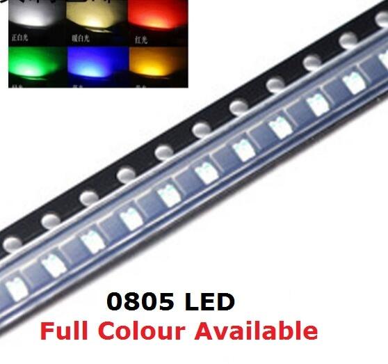 Бесплатная доставка, 100 шт., 0805 SMD Светодиодная бусина, фиолетовый, красный, желтый, зеленый, белый, синий, оранжевый, теплый белый светильник, ...
