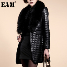 [EAM] 2018autumn Winter Woman Solid Black Long Sleeve Spliced Imitation Fox Fur Collar Lattice Grain PU Slim Jactet Coat LD04340