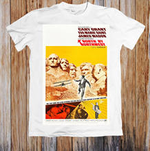NORTH BY NORTHWEST 50's RETRO MOVIE POSTER UNISEX T-SHIRT white black grey red trousers suit hat pink t-shirt Classic t-shirt(China)