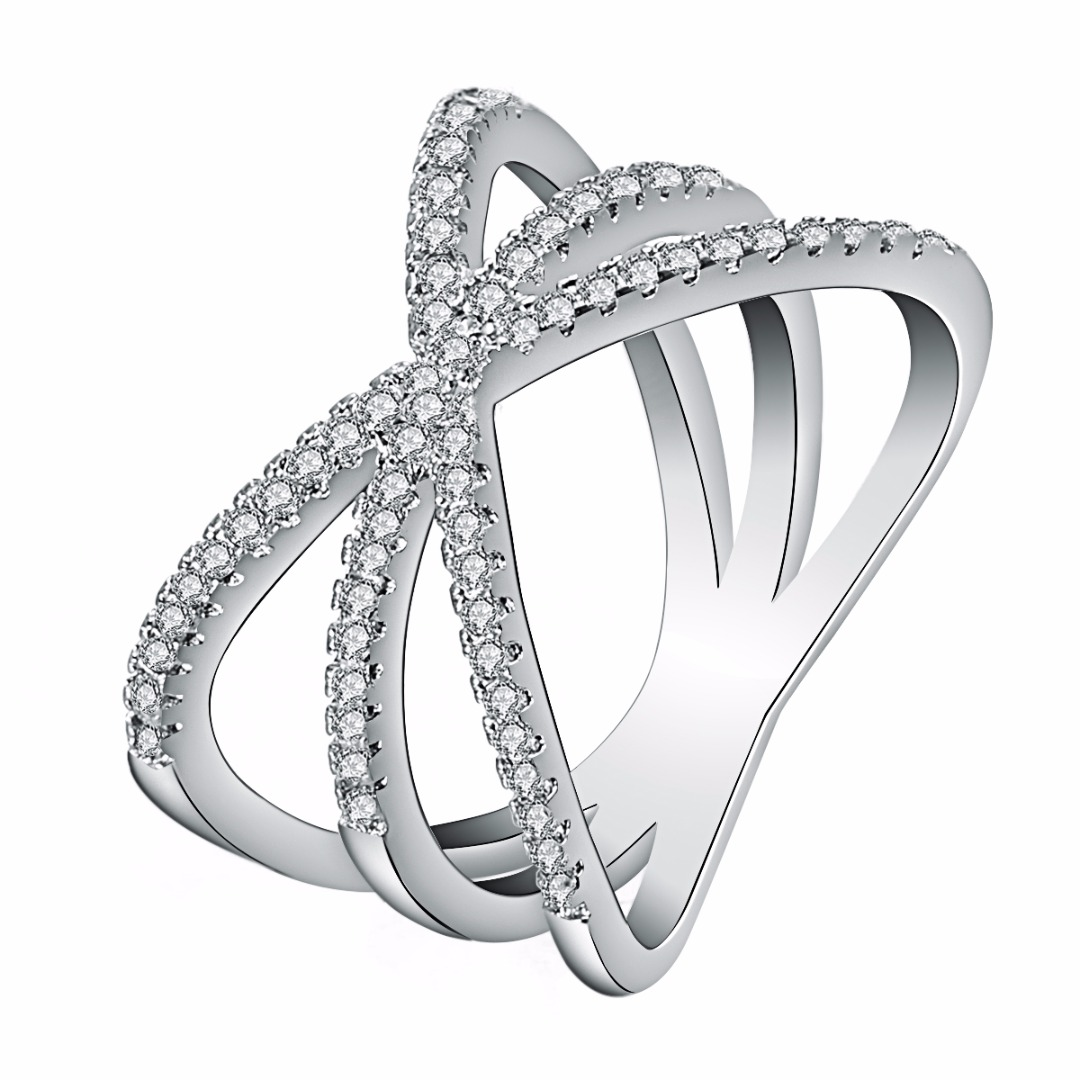 Fashion Wedding Jewelry Shellhard Cubic Zirconia Cross Finger Ring Charming Female Anillos Mujer Silver Plated Rings