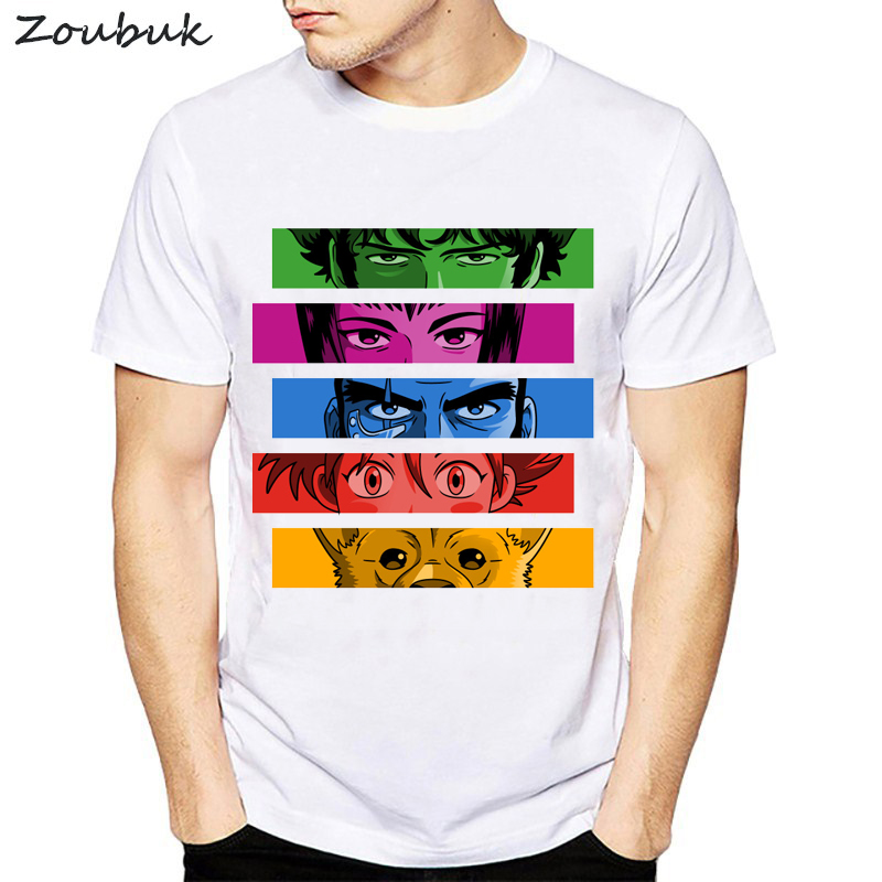 0d0848ce5d9d Anime Cowboy Bebop T shirt men women cool fashion rainbow colors cartoon  white tshirt summer o