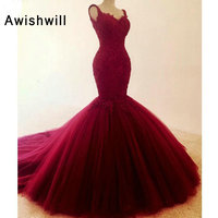 2019 New Arrival Tulle Mermaid Formal Long Evening Dress Backless Burgundy Prom Dresses Women Special Occasion Evening Gowns