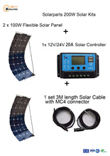 Boguang 200W DIY RV/Boat Kits Solar System 2 x100W PV flexible solar panel 12V, 1 x 20A solar controller, 1 set 3M MC4 cable .