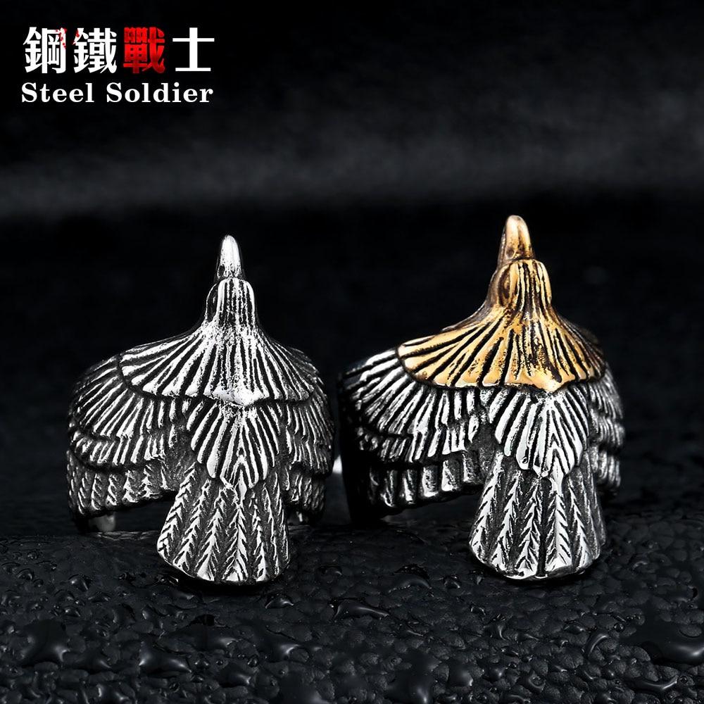 Stål soldat Unikke smykker Rustfrit stål Biker Eagle Ring Mands - Mode smykker - Foto 6