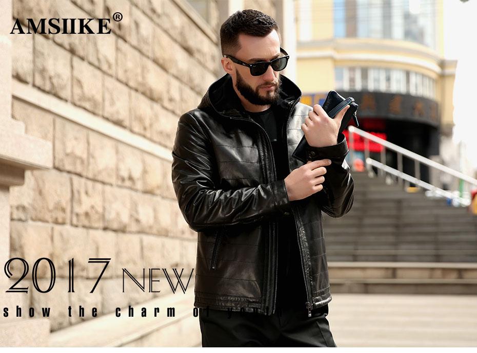 71d51dd8023 AMSIIKE 2018 Autumn Hooded Coat Genuine Leather Jacket Men New style  Sheepskin Chaqueta Black Casual Plaid Hoodie Coat A16050 M-8XL. jacket-men 01  ...