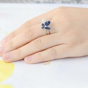 Image 5 - Santuzzaジュエリーセット女性のための本物の925スターリングシルバーゴージャスなブルー蝶イヤリングリングセット光沢のあるczファッションジュエリー