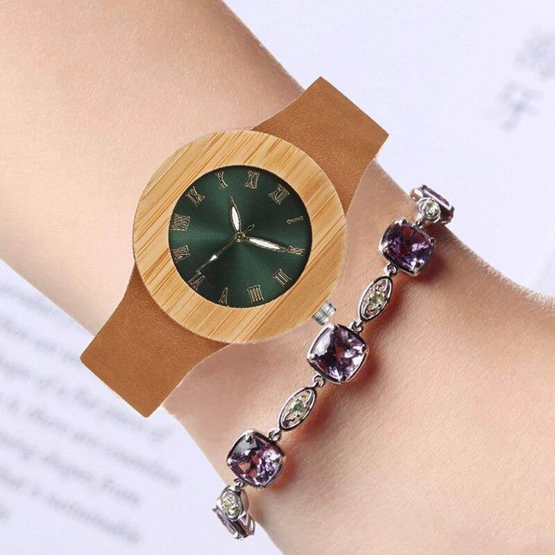 Wood Hodinky Women Wooden Watch  Wristwatch Dress Ladies Clock 2017 Fashion Blue Green Dial Leather Band Geneva Top Brand Luxury