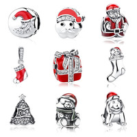 100 925 Sterling Silver Twinkling Christmas Style Tree Charm Bead Fit Original Pandora Bracelet Authentic DIY