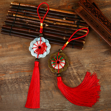 10pcs Diy Chinese Knot Pendant Tassel Fringe Trim 10-Pieces Copper Coins with Jade Tassels Chinese Knot New Year Decoration Gift недорого
