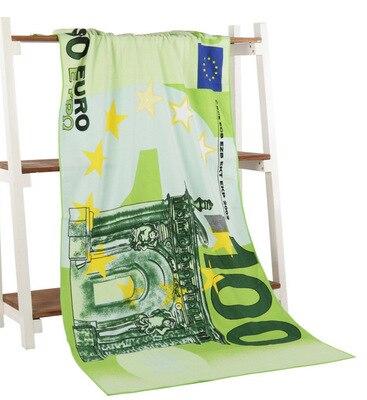 Nouveau Euro Dollar drapeau imprimé microfibre bain Serviette de plage Serviette de bain drapeau USA corps gant de toilette pour hommes la douche 70*140cm