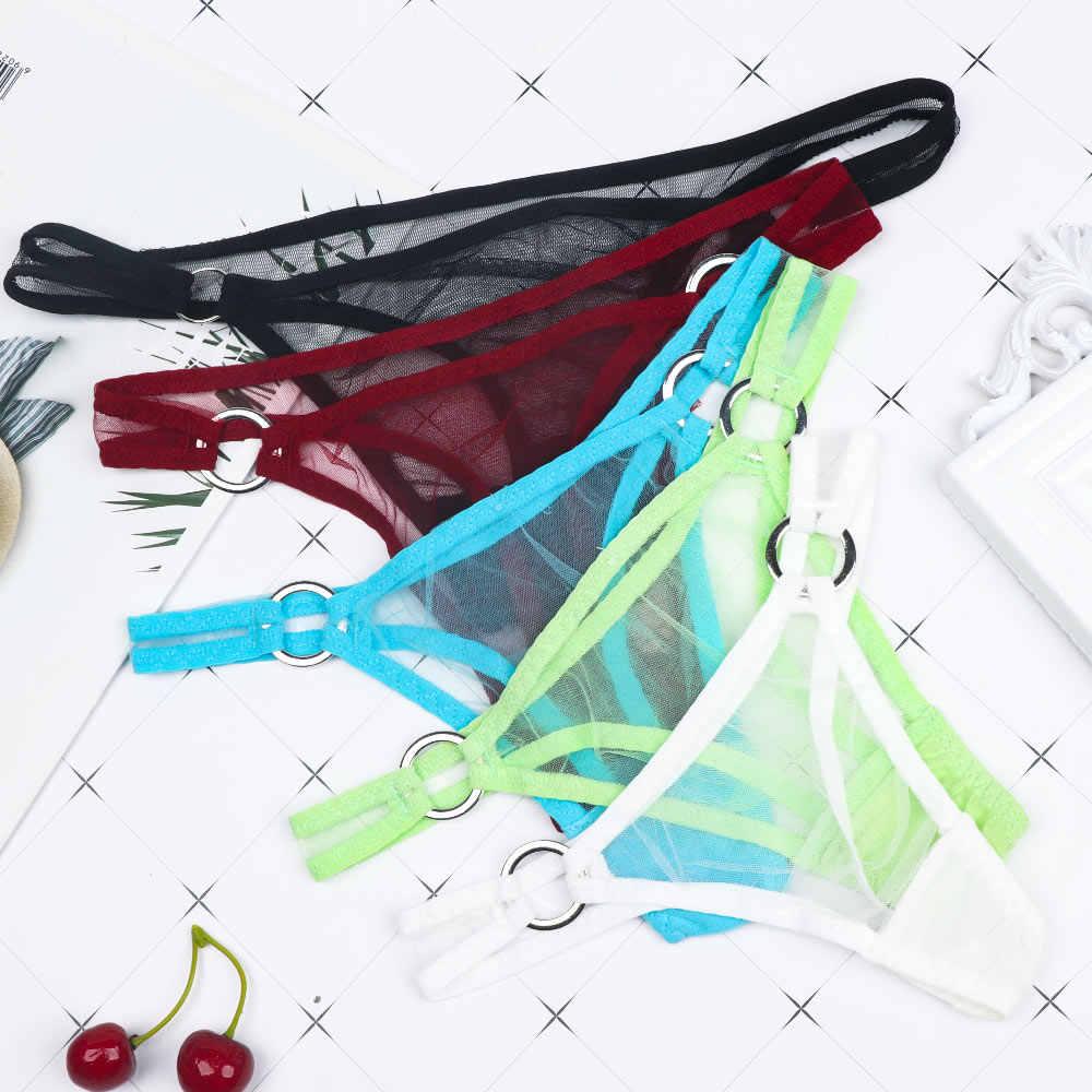 Bragas Sexy de encaje de Mujer tangas v-string Ultra-thin malla hebilla transparente Sexy Braga Mujer Bragas suaves para Mujer