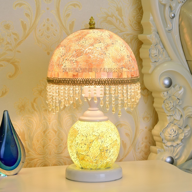 European Glass Table Lamps Stained Glass Lamp For Bedside Study Pastoral Living Room Coffee Bar Marriage Room Table Lights living room high foot small bar table toughened glass bars table fashion household coffee bar table