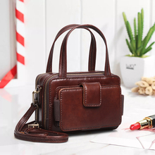 Cobbler Legend Double Zipper Women Genuine Leather Handbags Bags for 2019 Famous Brands Designer Crossbody Vintage