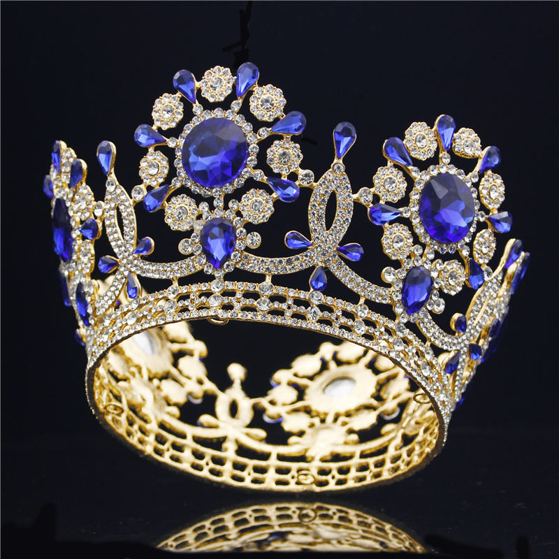 Baroque Wedding Crown Bride Tiaras and Crowns Head Jewelry Hair Accessories Prom Beauty Pageant Diadem Sparkling Crown for women himstory luxury sparkling cz flower bridal tiaras crown hair accessories big diadem crowns for women girls wedding party holiday
