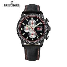 Reef tigre / RT reloj del deporte para hombre reloj cronógrafo de cuarzo con piel de becerro italiano y Super luminoso negro PVD RGA3029