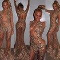 Сексуальное отвесное-иллюзия бисера за тюль длинные рукава Memaid платья знаменитостей
