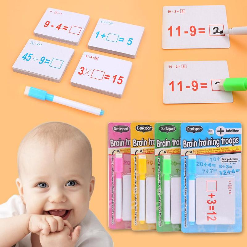 Kids Mathematics Teaching Cards Kids Reusable Mathematics Teach Card with Erasable Pen Educational Math Toys for Children