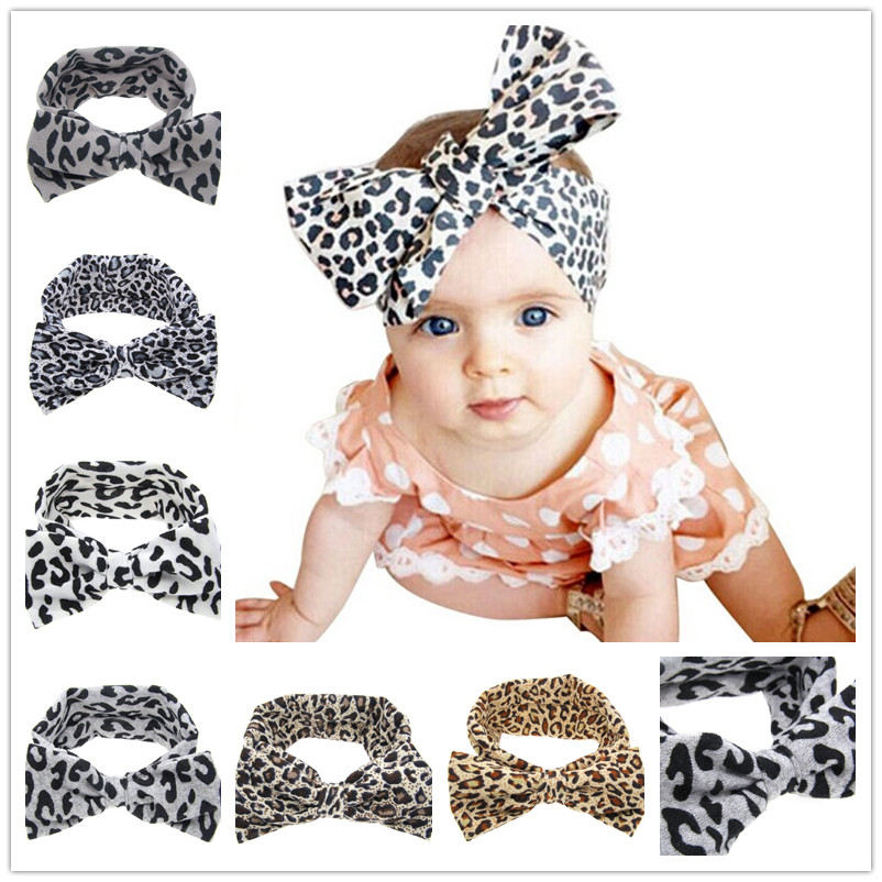 Little Girls Kids Mjuk Stretch Headband Big Bow Turban Bowknot Hårband Leopard Head Wrap Hair Band Tillbehör 1pc HB510