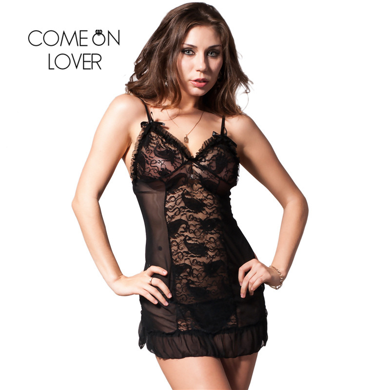 RI7175 Comeonlover Womens Lingerie And Exotic Hot Sale Mini Babydoll Nightwear Lace Black Dress+G string Nuisette Lingerie Sexy 2