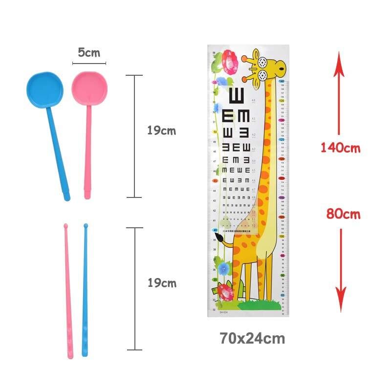 3pcsset Kids Doctor Toy Cartoon Eye Chart Giraffe Measure Height