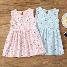 298dfa23ef80 2-7Y Kids Baby Girls Pink Dresses Summer Girl Birthday Dress Toddler  Princess Clothes Blue Grass Flower Clothing Children Cotton