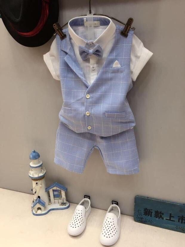 boys clothing set suits summer shirt + suit vest + pants boy wedding dress gentleman suit children suit high quality 1-7 years