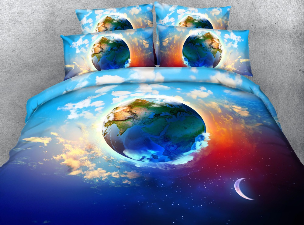 3d earth queen duvet cover 3/4pcs kids children universe bed cover set twin full queen blue cloud scenery bedlinen home decor
