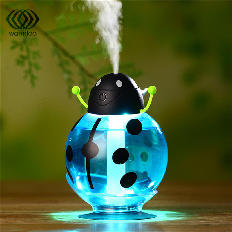 260ml Beetle Mini USB Night Light Cartoon Ladybug Aroma Air Humidifier  Diffuser Mist Maker Car Baby Bedroom Accessories