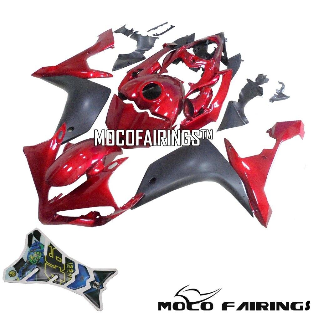 Livraison gratuite carénages pour Yamaha YZF R1 2007 2008 07 08 ABS Kit carénage moto carrosserie étui rouge & noir mat