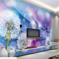 Custom Large Scale Murals Warm Romantic Dandelion 3D Living Room TV Background Wall Paintings Non Woven
