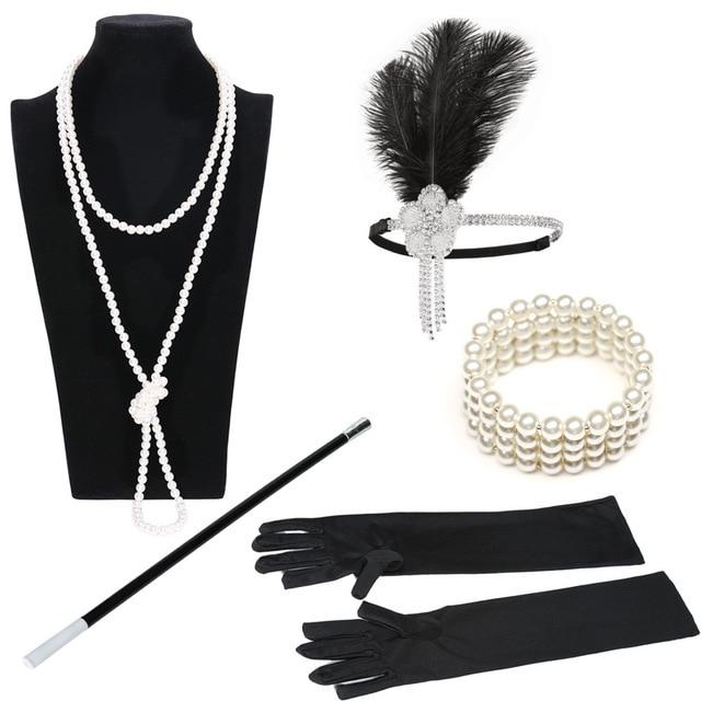 Вечерние аксессуары для костюма Great Gatsby, набор из 5 предметов, повязка на голову с перьями, перламутровое ожерелье, перчатки, держатель для си...
