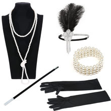 1920 s Great Gatsby Party Kostüm Zubehör Set 20 s Flapper Feder Stirnband Perle Halskette Handschuhe Zigarette Halter 5 Pcs set(China)
